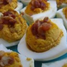 Bacon Deviled Eggs - These savory deviled eggs with the flavors of ranch dressing and bacon have only 3 ingredients and are easy to make.
