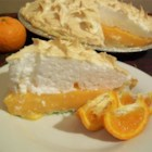 Orange Meringue Pie - A nice change from lemon meringue, the flavor comes from a generous amount of orange juice and orange zest as well as some segments of fresh orange.