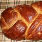 D's Whole Wheat Challah - This is a simple braided challah, glazed with egg. Half the flour is whole wheat for a hearty flavor. It is sweetened with sucralose sweetener, but you can substitute sugar.