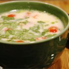 Tom Ka Gai (Coconut Chicken Soup) - Coconut milk and lime juice seasoned with ginger root and cayenne pepper create a spicy broth for this Thai-inspired soup with strips of white chicken, cilantro and chopped scallions.