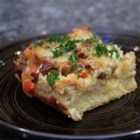 Sunday Vegetarian Strata - A savory bread pudding made with vegetarian sausage, cheese, and eggs.