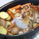 Pork Butt Roast with Vegetables - Delicious and tender pork roast with piles of vegetables and mushrooms