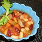 Bean and Sausage Soup - Italian sausage is added in the final stage to this  mixed bean and vegetable soup prepared in a slow cooker.