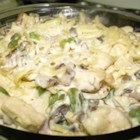 Mushroom Chicken Tetrazzini - A saute mixture of chicken breast, onion, mushrooms cream and cooked spaghetti baked with Parmesan cheese on top.