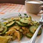 Zucchini and Eggs - A match made in heaven: scrambled eggs and zucchini. My favorite additions are fresh oregano or rosemary.