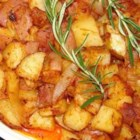Brilliant Potatoes With Paprika and Caramelized Onions - I have been making it since I was a teenager, and everyone in the family always requests it when I make dinner.  I have shortened the prep time using canned, whole, white potatoes, instead of boiling my own.  The results are just as delicious. If you are opposed to canned potatoes, use fresh, boiled potatoes.  These potatoes make fantastic leftovers too!  This is the first time I have ever given out the recipe.  I hope you all enjoy it as much as we do!