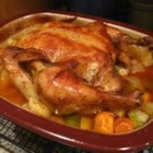Roasted Vegetable Chicken - A whole chicken roasted with onion, carrots, celery and potatoes. Delicious any time!