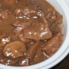 No-Peek Beef Stew - A super-easy dish for the slow cooker. Beef stew meat, condensed soup, mushrooms and red wine make this a delicious meal to come home to after a hard day's work. Serve with a salad and warm sourdough bread.