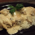 Mushroom Chicken in Sour Cream Sauce - Chicken breasts seasoned with paprika, lemon pepper, and garlic powder are slow cooked with white wine, sour cream, mushrooms, and cream of mushroom soup in this easy-to-prepare recipe that cooks while you go about your day.