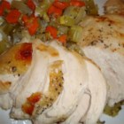 Roasted Turkey, Navy Style - Roasted turkey is so juicy and flavorful when the bird is stuffed with carrots, onions, celery, and seasonings, and a whole bottle of white wine is poured through the turkey. Butter under the breast skin keeps the meat juicy while the skin bakes crisp and brown.