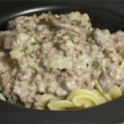 Easy Beef Strogonoff - This is an easy variation on beef stroganoff, using ground beef. Sour cream is added, off the heat, and it is served over egg noodles.