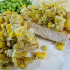 Mom's Stuffing Pork Chops - Thick cut baked pork chops topped with creamed corn 'stuffing.'