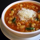 Pasta e Fagioli I - This traditional pasta and white bean soup deserves the best Parmesan cheese you can afford. Use the rind to flavor the cooking liquid, along with onion, celery, carrot, ham, garlic, tomatoes, beef stock, thyme, bay leaf and pepper.