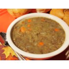 Lentil Soup I - Two kinds of lentils and mashed potatoes are used in this tasty and economical soup.  Whole cloves are added during cooking, for extra flavor..  This soup can easily be made vegetarian by substituting vegetable stock for the chicken soup base.