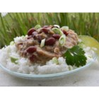Restaurant Style Red Beans and Rice - Believe it or not the secret to many bean dishes is lard.  Red beans are simmered, slowly, with ham hock.  Then the beans and meat are processed in a food processor with spices and lard.  The beans are reheated and served over rice.