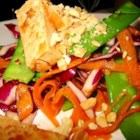 Tofu Salad - Marinated tofu, blanched snow peas, carrots, cabbage, and peanuts are tossed together in this delicious Asian-style salad.