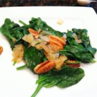 Spinach with Pecans - Chopped pecans add a great taste and texture to cooked fresh spinach and onions.