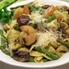 Shrimp and Asparagus - This recipe is a delicious option for shrimp. Shrimp sauteed with asparagus and mushrooms, tossed with egg noodles.