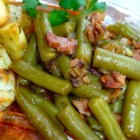 Sweet and Sour Green Beans - A slightly tart green bean side dish flavored with onion and bacon. Goes great with ham or pork.