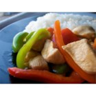 Sweet and Sour Chicken III - Carrots and red and green bell peppers add lots of color to this classic sweet pineapple and sour soy-vinegar chicken stir fry with just a whiff of ginger.
