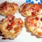 Bacon and Tomato Cups - Little buttermilk biscuit cups are baked with a savory mixture of bacon and tomato inside.