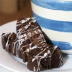 Chocolate Chocolate Biscotti - Wonderful double chocolate biscotti recipe.  Like most biscotti, these store very well.
