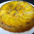 Peach Amaretto Upside-Down Cake - Amaretto flavors this lovely peach and pecan upside-down cake.