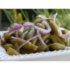 Cold Green Bean Salad - Canned green beans are tossed with dressing and freshly sliced onion and then chilled in this salad suitable for lunches or casual dinners.
