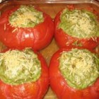 Kathy's Baked Stuffed Tomatoes - A quick and delicious side dish or snack. These stuffed tomatoes are as colorful as they are flavorful.