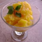 Mango Sorbet - Fresh mangos, simple syrup, and lime juice are the three ingredients in this refreshing sorbet.