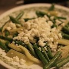 Fresh Green Beans, Fennel, and Feta Cheese - Fresh green beans and fresh fennel, cooked until crisp-tender are then briefly sauteed in extra-virgin olive oil, along with fresh basil and crumbled feta cheese.