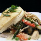 Chicken a la Queen - A store-bought rotisserie chicken gets tossed with fresh asparagus, bell peppers, and mushrooms in a white wine cream sauce. Serve it over biscuits or pastry shells.