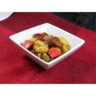 Sausage, Peppers, Onions, and Potato Bake - A hearty old-style Italian dish, New York City style, has browned chunks of sausage, potatoes, red and green peppers, and onions baking together with wine and seasonings.