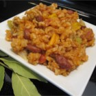 Easy Cajun Jambalaya - Chicken breast and kielbasa are sauteed with green pepper, onion celery and garlic, then stewed with chicken stock and rice. This version is lightly spiced, in response to those a little more sensitive to pepper.