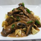 Beef Stroganoff III - Strips of chuck roast simmered with green onions and mushrooms, then flavored with mustard and a good Rhine wine make a delicious beef stroganoff.