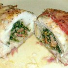 Chicken Breast Stuffed with Spinach Blue Cheese and Bacon - Chicken breasts are stuffed with blue cheese, bacon and spinach in this dramatic yet easy main dish. This is a recipe I came up with while trying to use up some leftovers from another recipe. You can add more or less pepper depending on your taste.  My family liked it hope you do to.