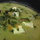 Miso Soup II - This is a bit more involved than the recipe above. The tofu is sauteed first with onion, garlic and ginger. Soy sauce, water and sherry are added, and carrots, spinach, and of course, miso. Very, very nice.