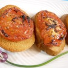 E-Z Tomato Toast - Easy appetizer of garlic seasoned tomatoes on sliced baguette.