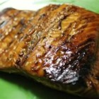 Maple-Soy Glazed Salmon - A fabulous sweet and salty glaze is basted on salmon as it grills on cedar planks.