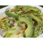 Lettuce, Avocado and Sunflower Seed Salad - The name just about says it all. Except we should mention the dressing, it 's creamy, has a smidgen of garlic, mayonnaise  and two kinds of vinegar  - balsamic and red wine. Serves four.