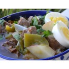 Ajiaco (Beef and Pepper Stew) - This is my take on the ubiquitous Latino stew, ajiaco. This version uses leftover roast beef, sweet red peppers, and creamy baby potatoes simmered together in a spicy broth.