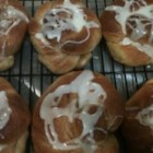 Mrs. Baker's Sticky Cinnamon Rolls - Golden brown cinnamon sugar dough knots.
