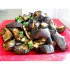 Italian Eggplant Salad - Roasted eggplant is dressed in an herbed balsamic vinaigrette dressing. If you like eggplant, you will love this recipe.  This is very easy to make. Can be used as a side dish or for a spread on crackers.