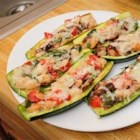 Nat's Shrimp and Veggie Stuffed Zucchini - Stuff that huge zucchini you found in your garden this morning with shrimp, mushrooms, and Parmesan cheese for a summery supper.