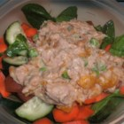 Orange Ginger Tuna Salad - We love all the flavors and the crunch in this one. Let 's see, there are orange sections, cashews, tuna, and ground ginger, and of course a smidgen of mayonnaise and a dash of lemon juice. Makes one big salad.