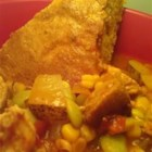 Brunswick Stew - This simple, hearty stew consists of chicken and salt pork with potatoes, beans and other vegetables seasoned with Worcestershire sauce, salt and pepper.