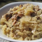 Kapusta - Try this recipe for a change from the ordinary.  Sauerkraut is baked with mushrooms, onions and cabbage.