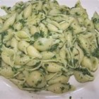 Spinach and Pasta Shells - Try adding frozen chopped spinach to boiling shell-shaped pasta, then toss the mixture with a pungent saute of garlic and red pepper flakes.