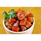 Ahi Poke Basic - This is a standard raw tuna (poke) salad served in most Hawaiian homes.  Although unconventional, it is sure to please the more adventurous seafood lovers.  Be sure to use fresh tuna for the very best flavor, although fresh frozen tuna will produce acceptable results.