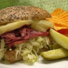 Saint Paddy's Irish Sandwich - Toasted sliced-sourdough, shredded corned beef, fancy mustard, and shredded cabbage in a light vinaigrette make this sandwich to die for--and not just on Saint Paddy's Day.